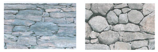 Comparaison entre un mur en schiste et en granite ; source Guide des bonnes pratiques de Construction de murs de soutènement en pierre sèche